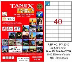 Tanex - Tanex Laser Etiket 52.5mmx29.7mm TW-2040