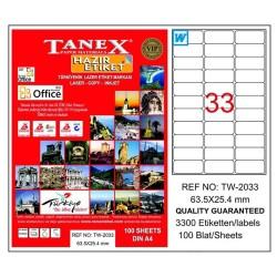 Tanex - Tanex Laser Etiket 63.5mmx25.4mm TW-2033