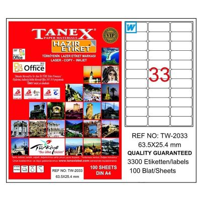 Tanex Laser Etiket 63.5mmx25.4mm TW-2033