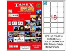 Tanex - Tanex Laser Etiket 63.5mmx46.6mm TW-2018