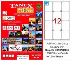 Tanex - Tanex Laser Etiket 63.5mmx72mm TW-2012