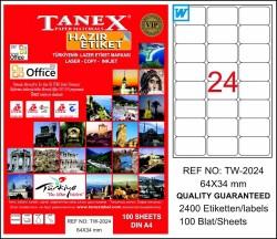 Tanex - Tanex Laser Etiket 64mmx34mm TW-2024