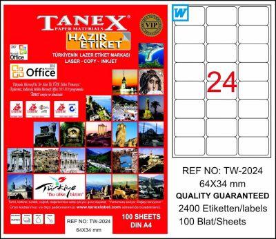 Tanex Laser Etiket 64mmx34mm TW-2024