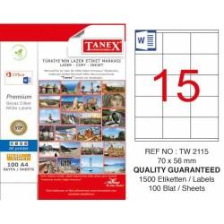 Tanex - Tanex Laser Etiket 70mmx56mm TW-2115