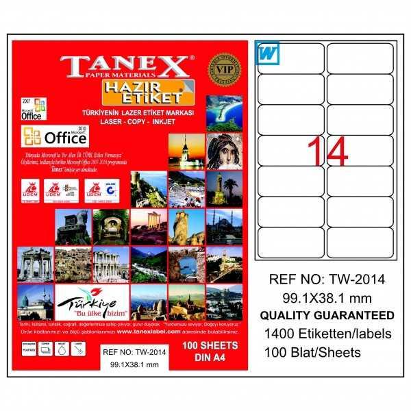 Tanex Laser Etiket 99.1mmx38.1mm TW-2014