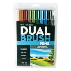 Tombow - Tombow AB-T Dual Brush Pen G.Kalem Seti Peyzaj Renkleri 10lu