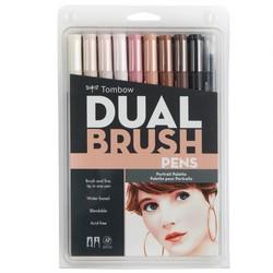 Tombow - Tombow AB-T Dual Brush Pen G.Kalem Seti Portre Renkleri 10lu