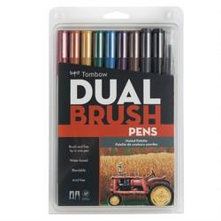 Tombow - Tombow AB-T Dual Brush Pen G.Kalem Seti Yumuşak Renkler 10lu