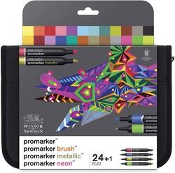 Winsor & Newton - Winsor & Newton Çantalı Karışık Markör Seti 24 Renk