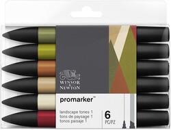 Winsor & Newton - Winsor & Newton ProMarker Manzara Tonları Seti 6lı